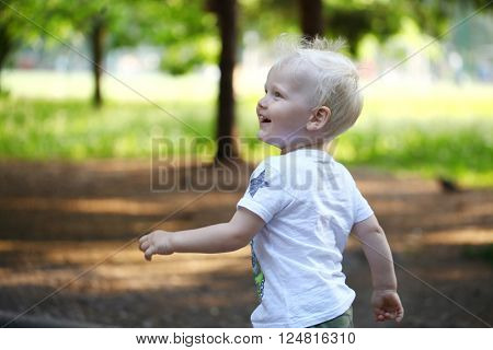 Portrait of blonde baby boy walking in summer park