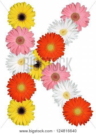 Letter K Alphabet From Flowers Isolated On White