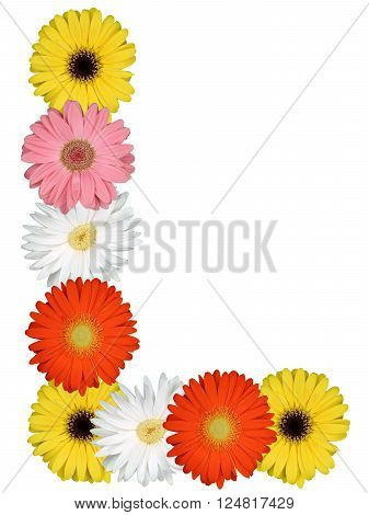 Letter L Alphabet From Flowers Isolated On White