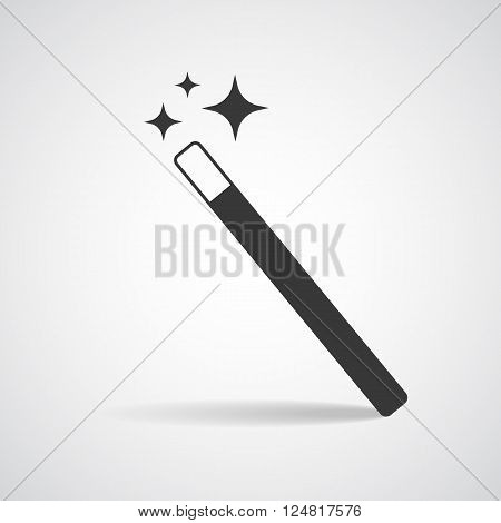 Vector Magic Wand icon with star sparkle. Flat style magic wand icon. Isolated on white background.