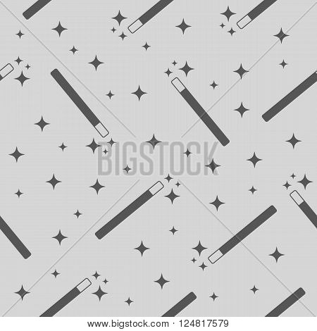 Vector Magic Wand with magic stars seamless pattern background. Magic wand texture. Magic wand icon. Magic wand stars.