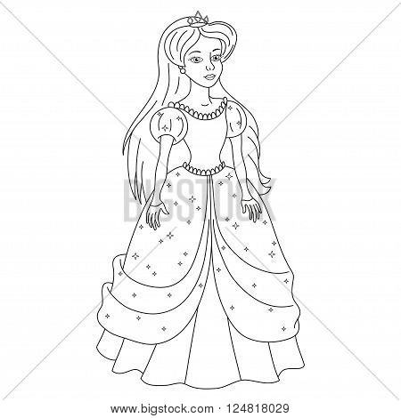 Beautiful princess, gentle princess in dress with spangles, vector illustration, coloring book page for children