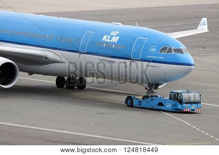 Amsterdam, the netherlands - 11 august, 2013:Just arrived KLM plane at Schiphol Airport
