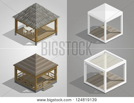 Set of four different pavilions for the park cafe or beach area shopping places