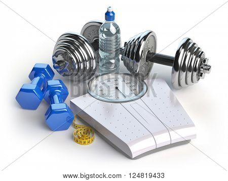 Fitness and weight loss concept. Weigh scales, dumbells and measuring tape. Healthy lifestyle. 3d illustration