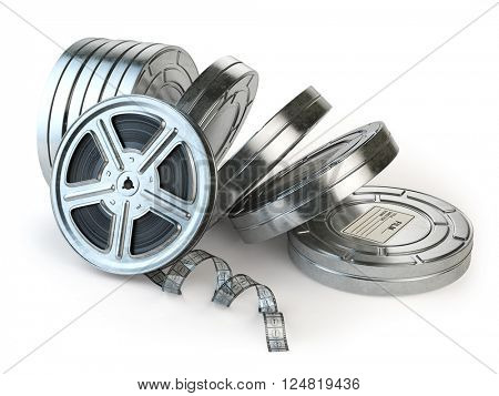 Film reel and boxes. Video, movie, cinema vintage concept. 3d illustration