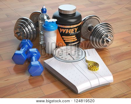 Fitness, bodybuilding or weight loss concept. Weight scales, dumbbells whey protein powder with shaker. Healthy lifestyle. 3d illustration