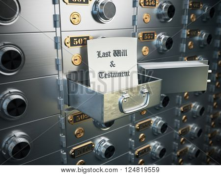 Last will and testament in the safe deposit box. Heritage concept. 3d illustration