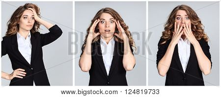 The collage of young woman's portrait with different astonished emotions on gray background
