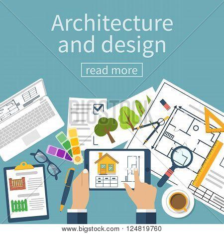Architect Designer Working Desk With Equipment