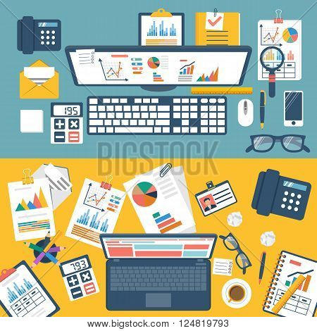 Desktop With Documents, Laptop And Office Equipmen