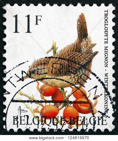 BELGIUM - CIRCA 1992: a stamp printed in the Belgium shows Eurasian Wren Troglodytes Troglodytes bird circa 1992