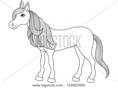 Charming cartoon horse with long golden mane and tail, vector illustration of quiet, gentle and obedient mare, coloring book page for children