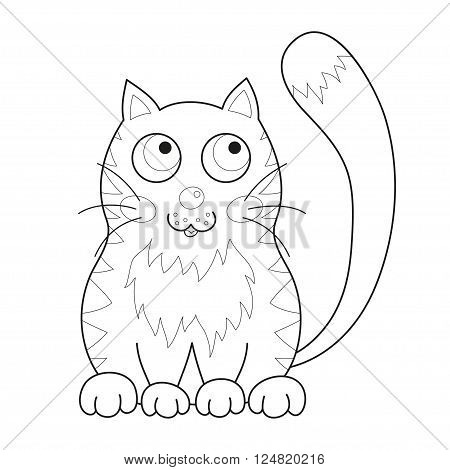 Cartoon smiling gentle kitty with stripes sit, vector illustration of cute loving cat, lonely kitten, coloring book page for children