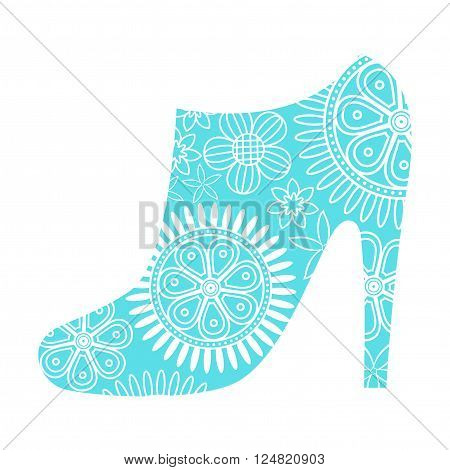 Ankle boot in blue colour with white lace