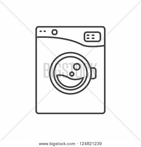 Washing machine line icon sign isolated. Outlined automatic washer symbol. Black and white.