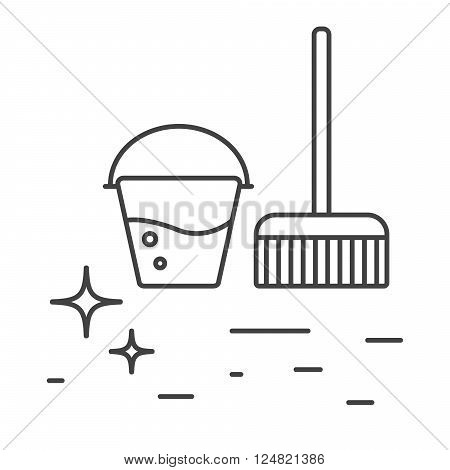 Cleaning tools bucket with water and mop line icons. Shiny cleanliness floor outline icon.