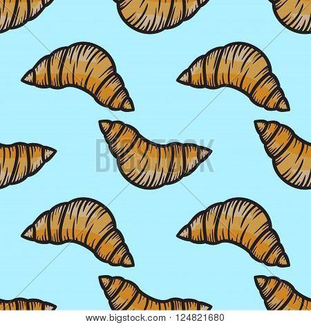 Croissant Seamless Pattern Vector Hand Drawn
