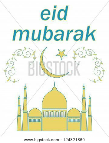 an illustration of an eid greeting card with a mosque star and crescent moon and decoration on a white background