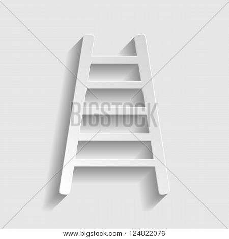 Ladder sign. Paper style icon with shadow on gray.