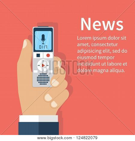 Journalist holds dictaphone recorder. Journalism concept . Live news template. Interview news reporter press isolated interviewer media paparazzi. Vector illustration. Flat design.