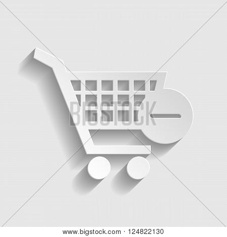 Vector Shopping Cart Remove from Cart Icon. Paper style icon with shadow on gray.