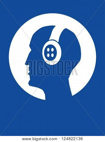 Vector illustration of a male head in profile wearing a set of headphones in white on blue with copy space