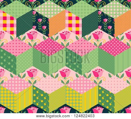 Seamless patchwork pattern with series of different colorful patches.