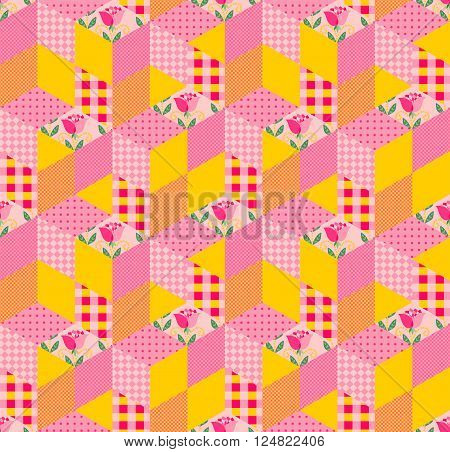 Seamless patchwork pattern. Bright ornament in yellow and pink tones. Vector illustration of quilt.