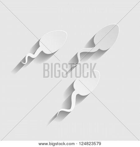 Sperms sign. Paper style icon with shadow on gray.