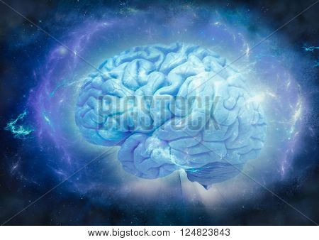 shining brain on abstract background, wrapped in blue energy