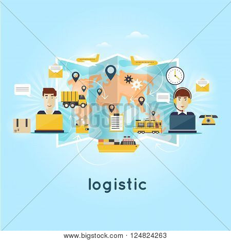 Logistic global transportation delivery. Cargo Transportation. Warehouse, Freight. Operator controls the traffic around the world people send parcels. Flat design.