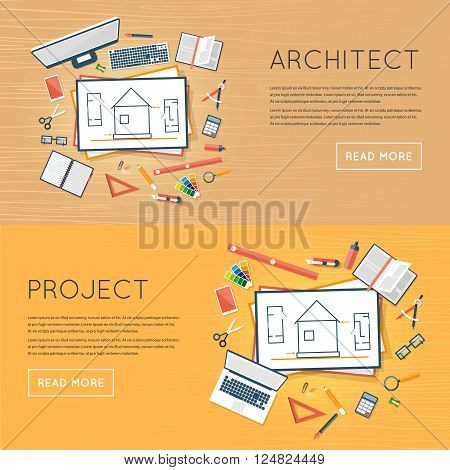 Construction planning process flat design. Architects workplace. Architecture planning on paper top view. Architectural project, architectural plan, technical project. Engineering for building houses.