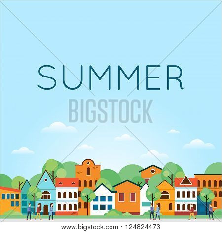 Summer Old city landscape. Colorful Houses. Old Town, old Europe, trip to Europe. Summer holiday. Tourism and vacation theme. Flat design vector illustration.