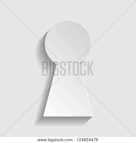 Keyhole sign. Paper style icon with shadow on gray.