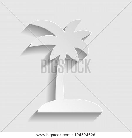 Coconut palm tree sign. Paper style icon with shadow on gray.