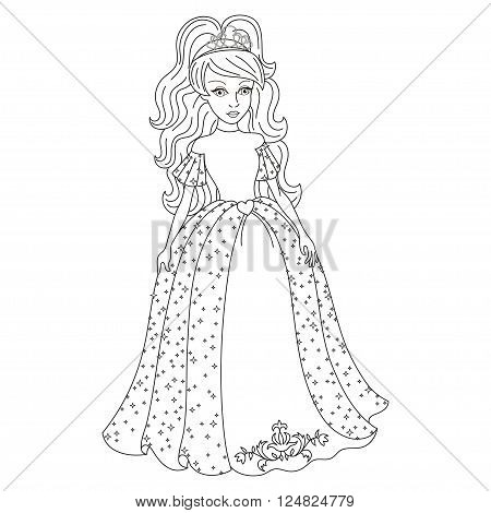 Beautiful princess, gentle princess in shining dress with spangles, vector illustration, coloring book page for children