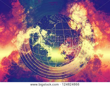 world sphere in toxic galaxy clouds abstraction