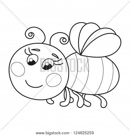Cute cartoon bee, funny ruddy bee flying, vector illustration, coloring book page for children