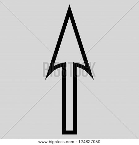 Sharp Arrow Up vector icon. Style is outline icon symbol black color light gray background.