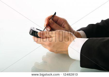 girl hand work on communicator