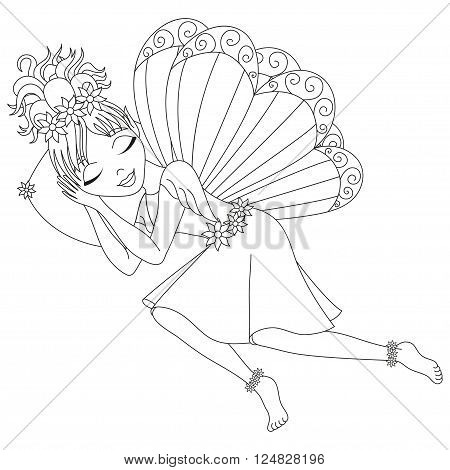 Cute fairy in dress with wings is sleeping on pillow, vector illustration, coloring book page for children
