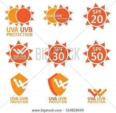 UV LOGO , uva uvb and spf with orange color