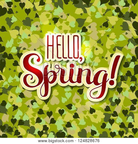 Positive Lettering composition Hello Spring on colored background with green leaves