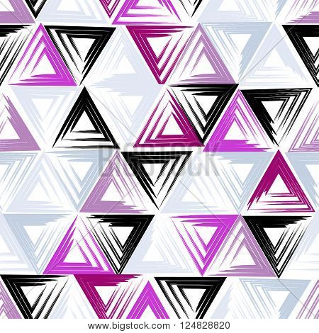 Cute vector geometric seamless pattern. Brush strokes, triangles. Hand drawn grunge texture. Abstract forms. Endless texture can be used for printing onto fabric or paper.