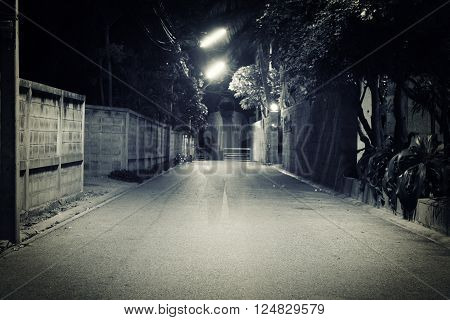 dark street with scary old man ghost