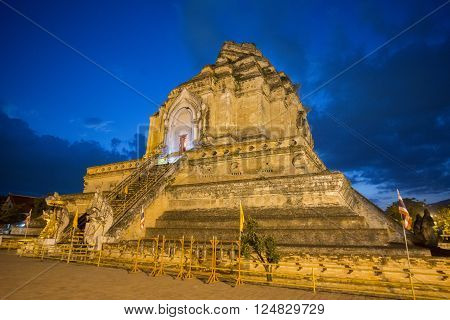the Wat chedi Luang in the city of Chiang Mai in North Thailand in Thailand in southeast asia.