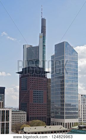FRANKFURT, GERMANY - APRIL 7, 2016: Aerial view of the banks in central business district Frankfurt, Germany