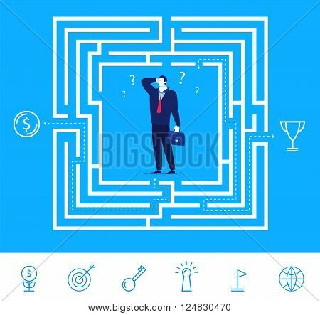 Flat design vector concept illustration. Businessman thinking how to pass the maze and get the money or cup. Choose the right path. Vector clipart. Icons set.