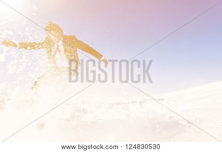 Businessman Snow Boarding Winter Season Concept